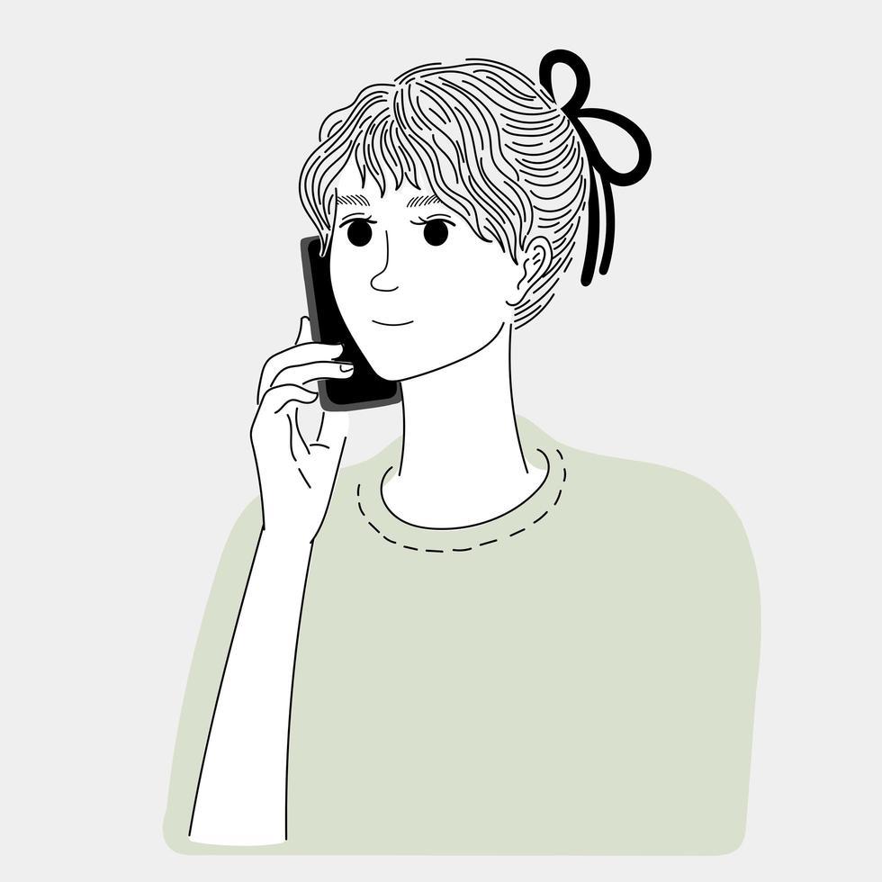 Frau telefoniert vektor