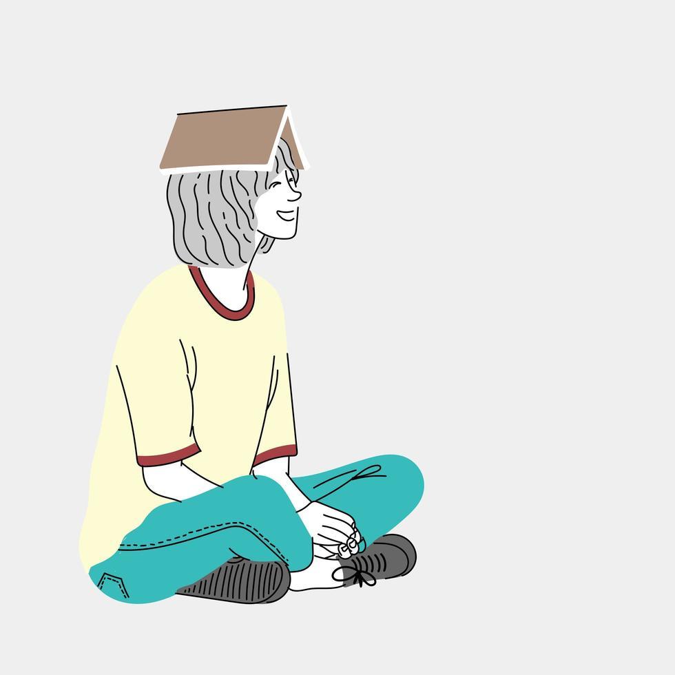 Frau sitzt auf dem Boden vektor