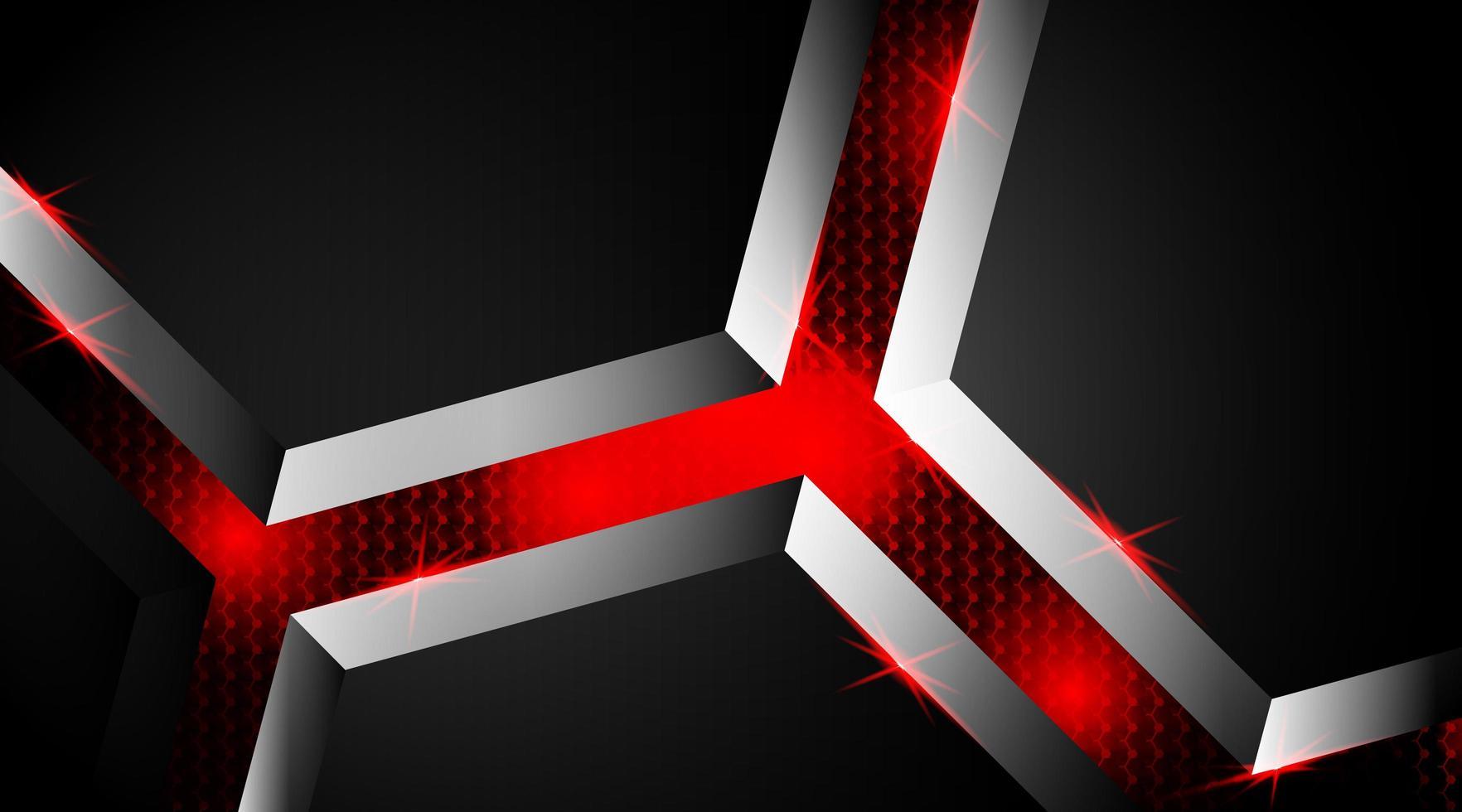 Fondo 3d de forma luminosa negra y roja vector