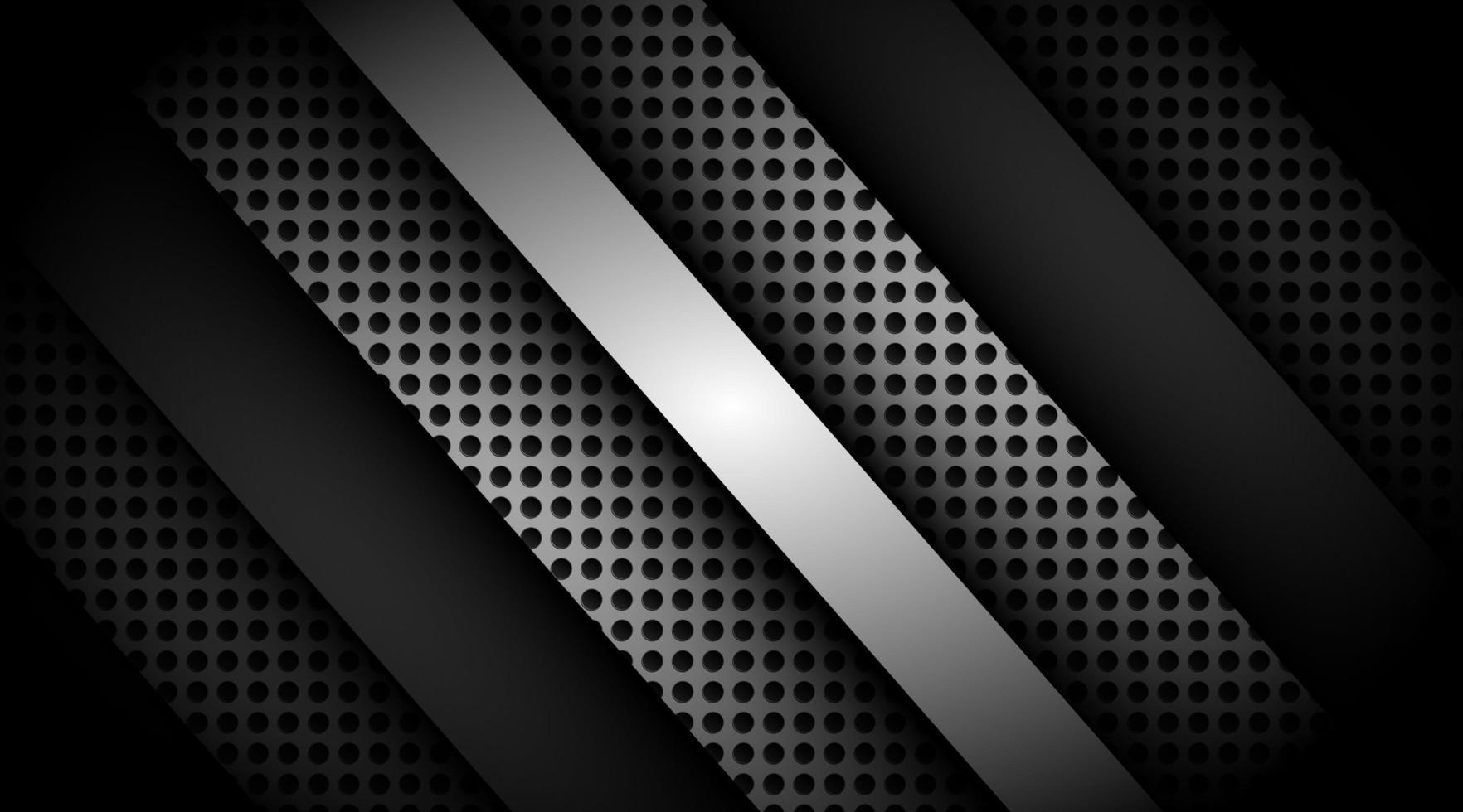 dunkles überlappendes 3d schwarz und grau mit silbernem Hintergrund vektor