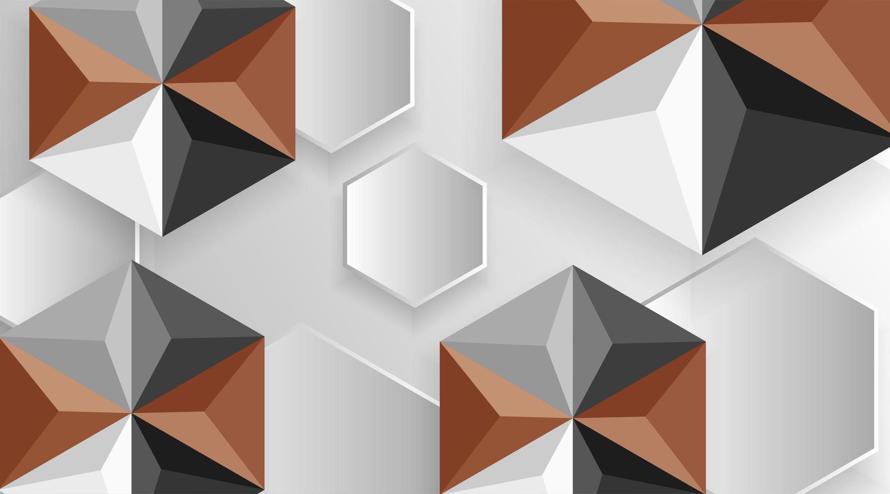Fondo de patrón de forma hexagonal 3d marrón y gris vector