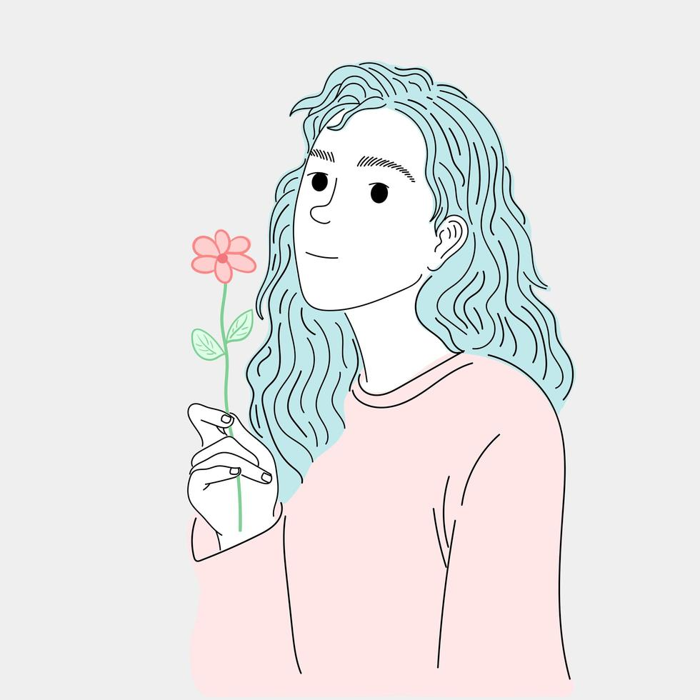 Frau mit langen Haaren vektor