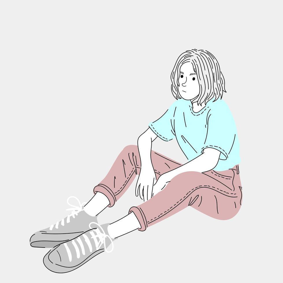 mulher sentada esperando por amigos vetor