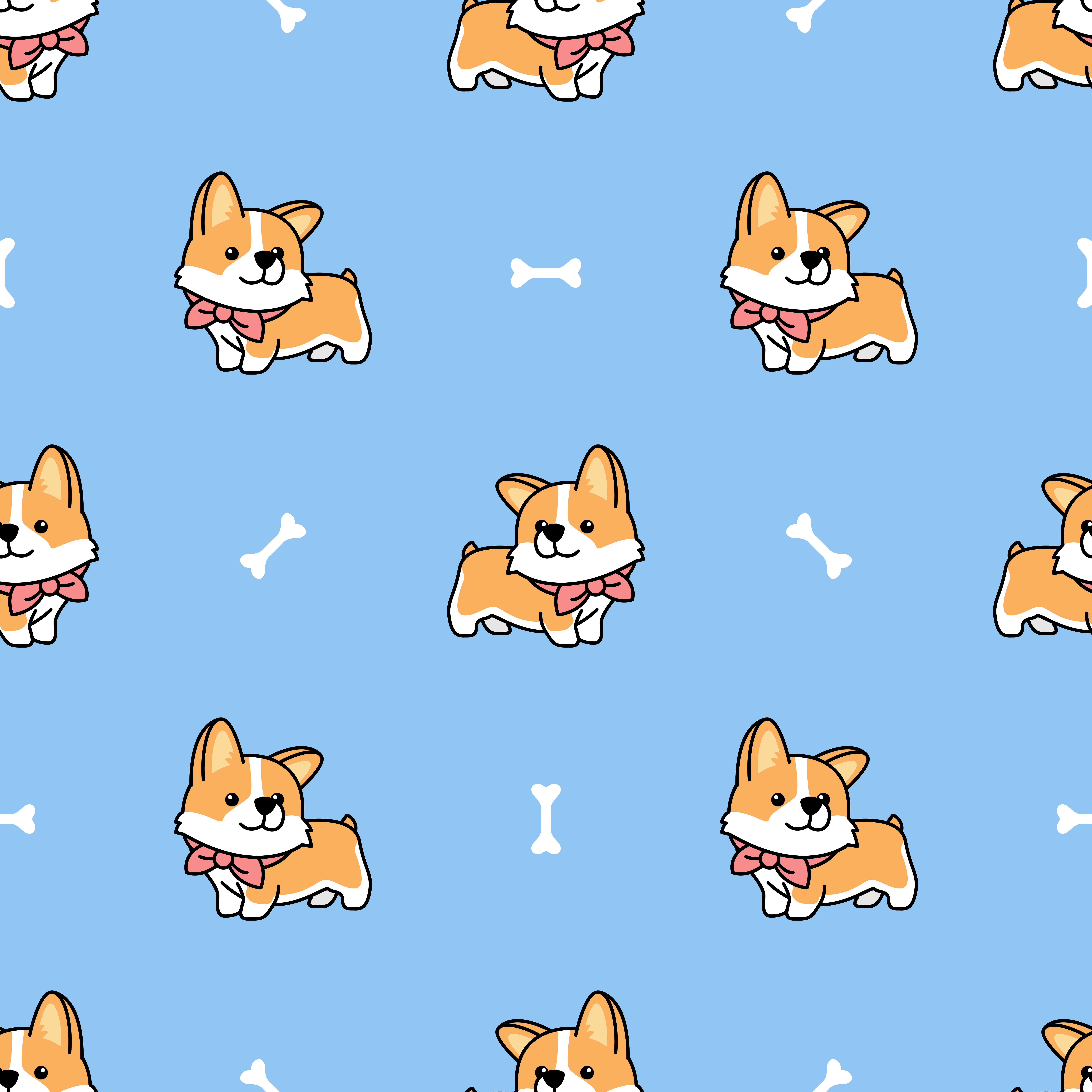 Cute Welsh Corgi Puppy Seamless Pattern