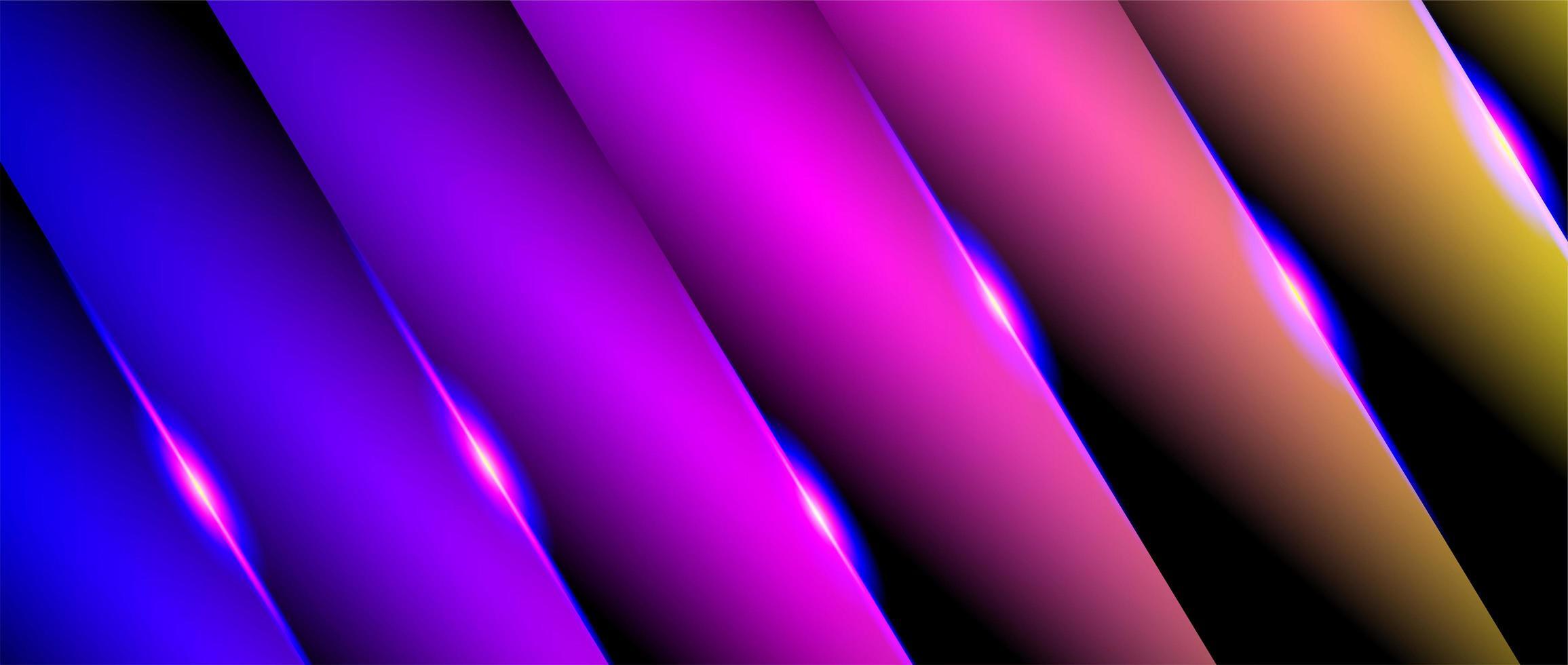 überlappende rosa, gelbe, blaue Farbverläufe glänzende diagonale Papierformen vektor