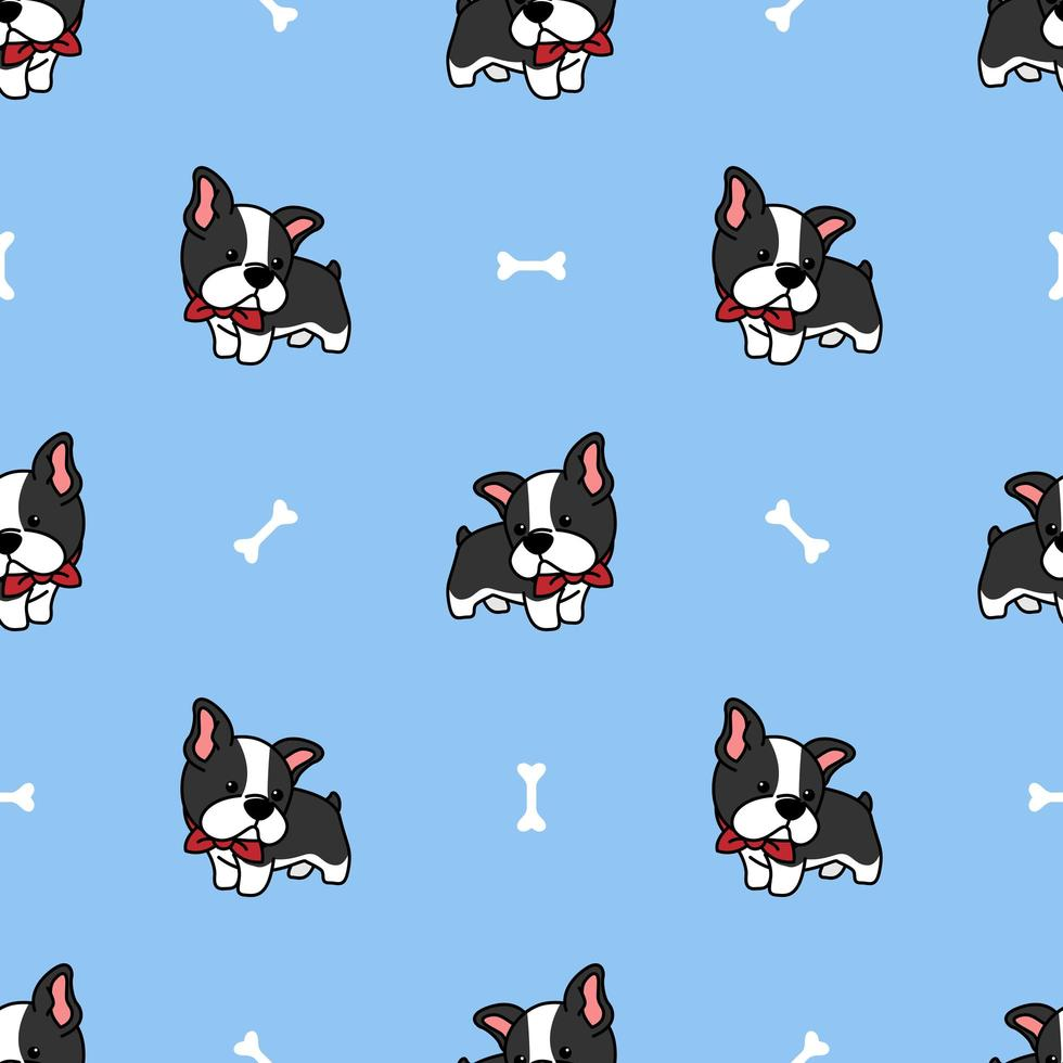 niedliches Boston Terrier Welpen Cartoon nahtloses Muster vektor