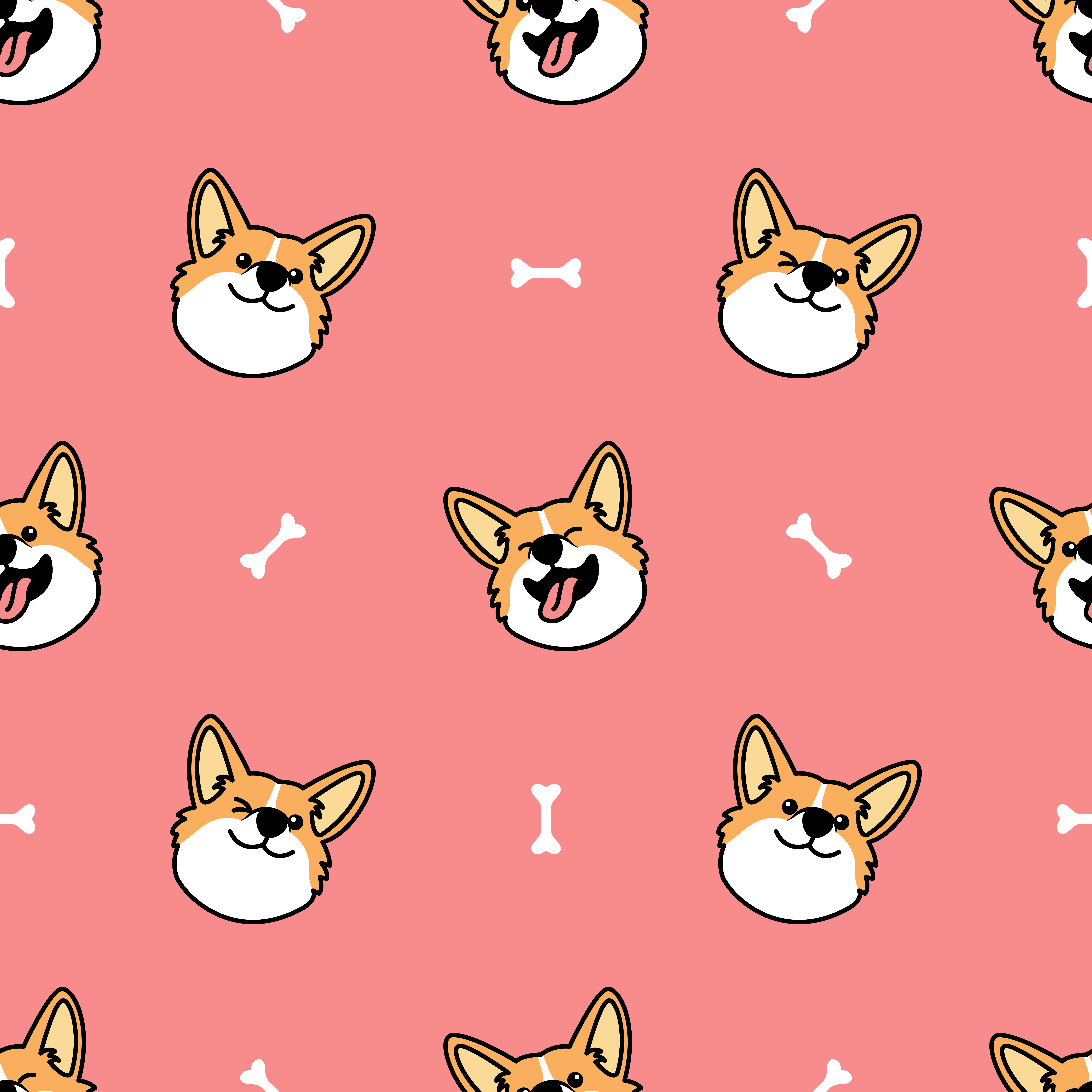 Cute Welsh Corgi Dog Face Cartoon Seamless Pattern