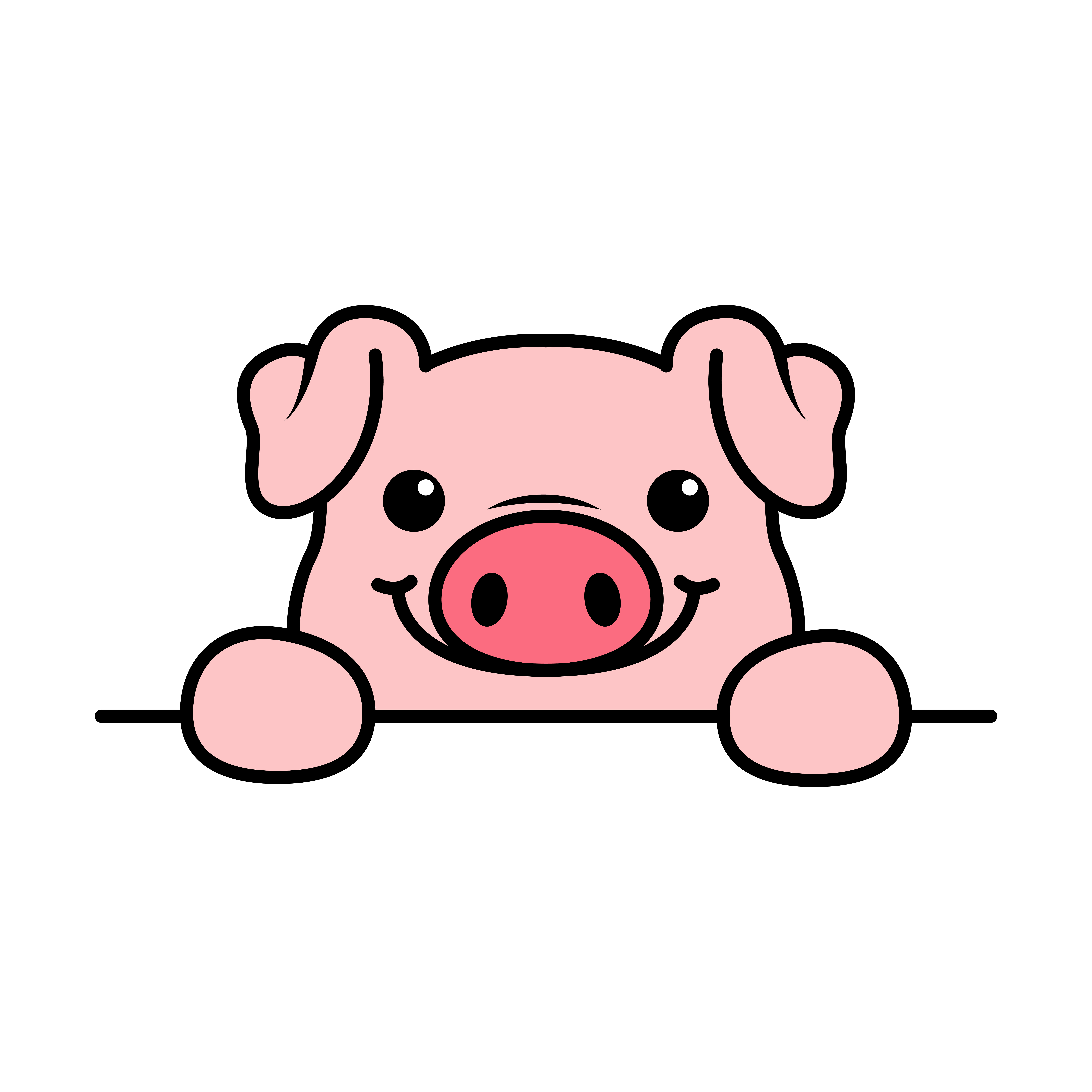 Cute Pig Paws Up Over Wall Pig Face Cartoon Icon Download Free Vectors Clipart Graphics Vector Art