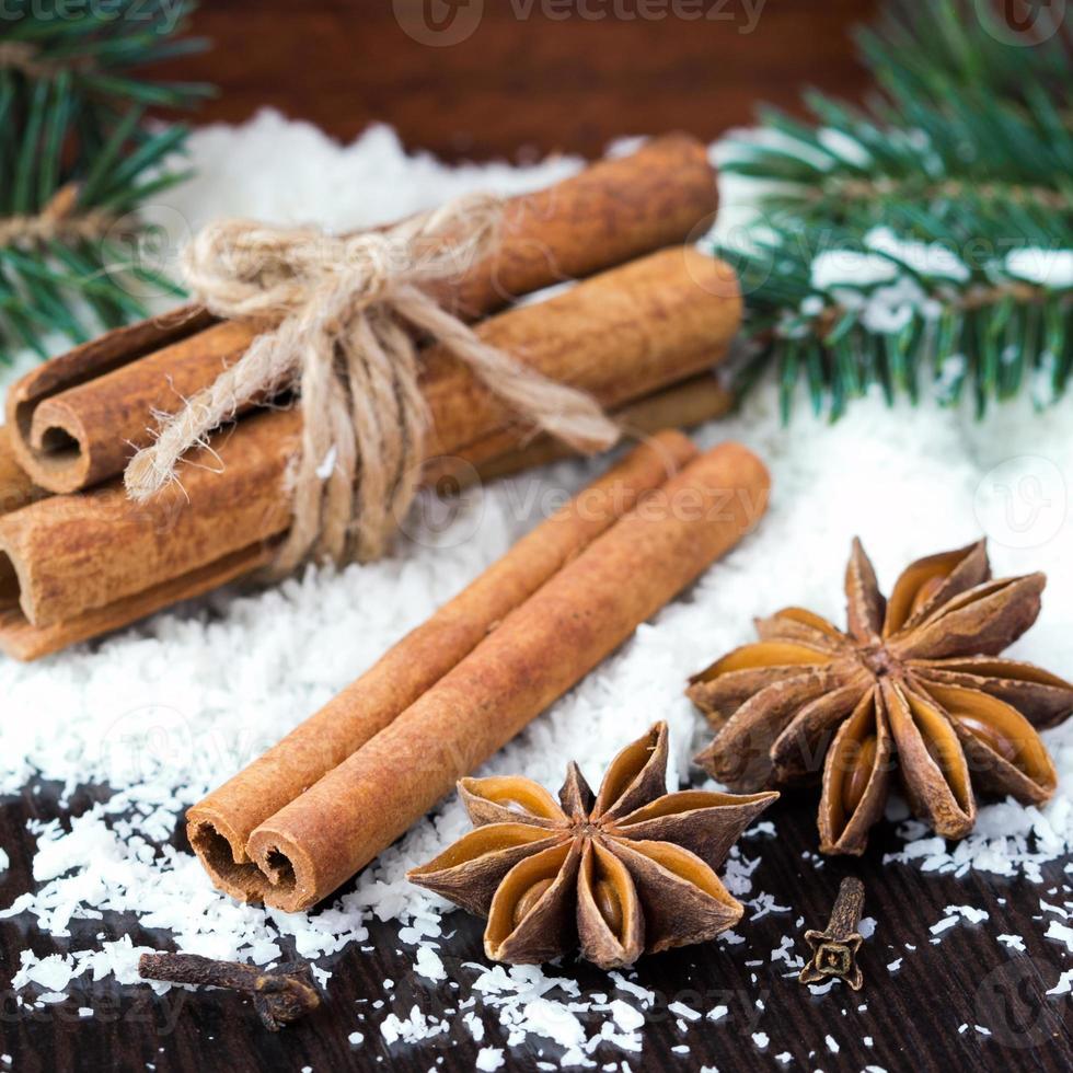Star anise and cinnamon sticks on snow, christmas tree, spices photo