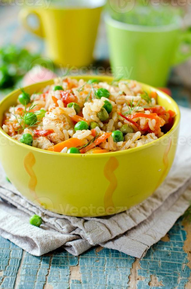 Pilaf with chicken and vegetables photo
