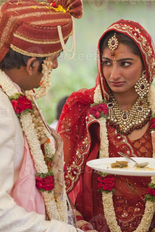 Happy Indian couple at their wedding. photo