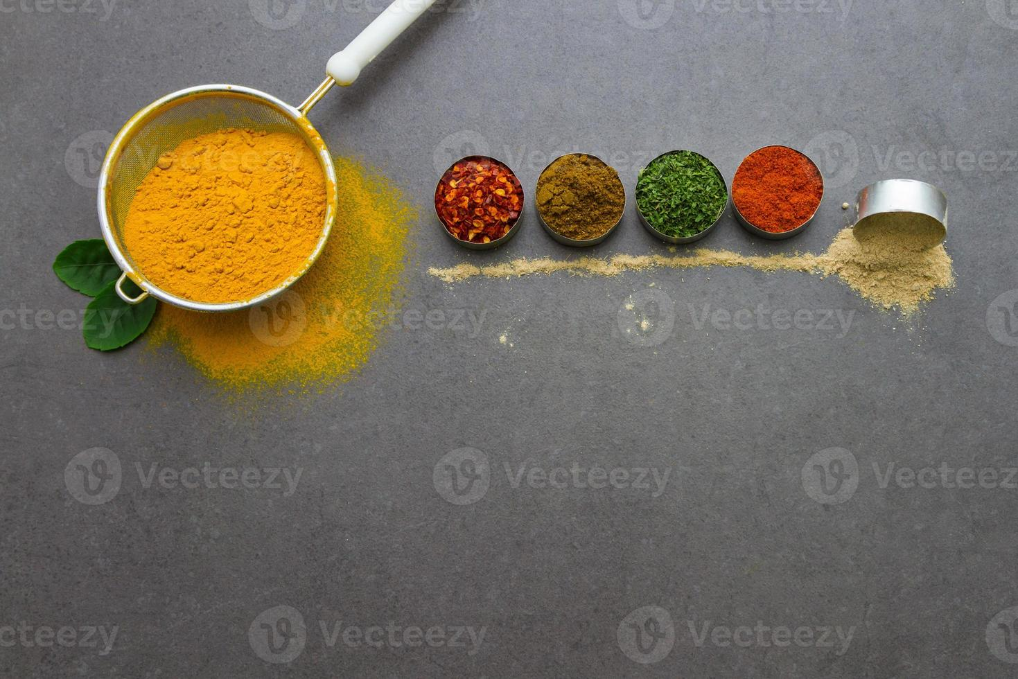 Mix spices and herb background. photo