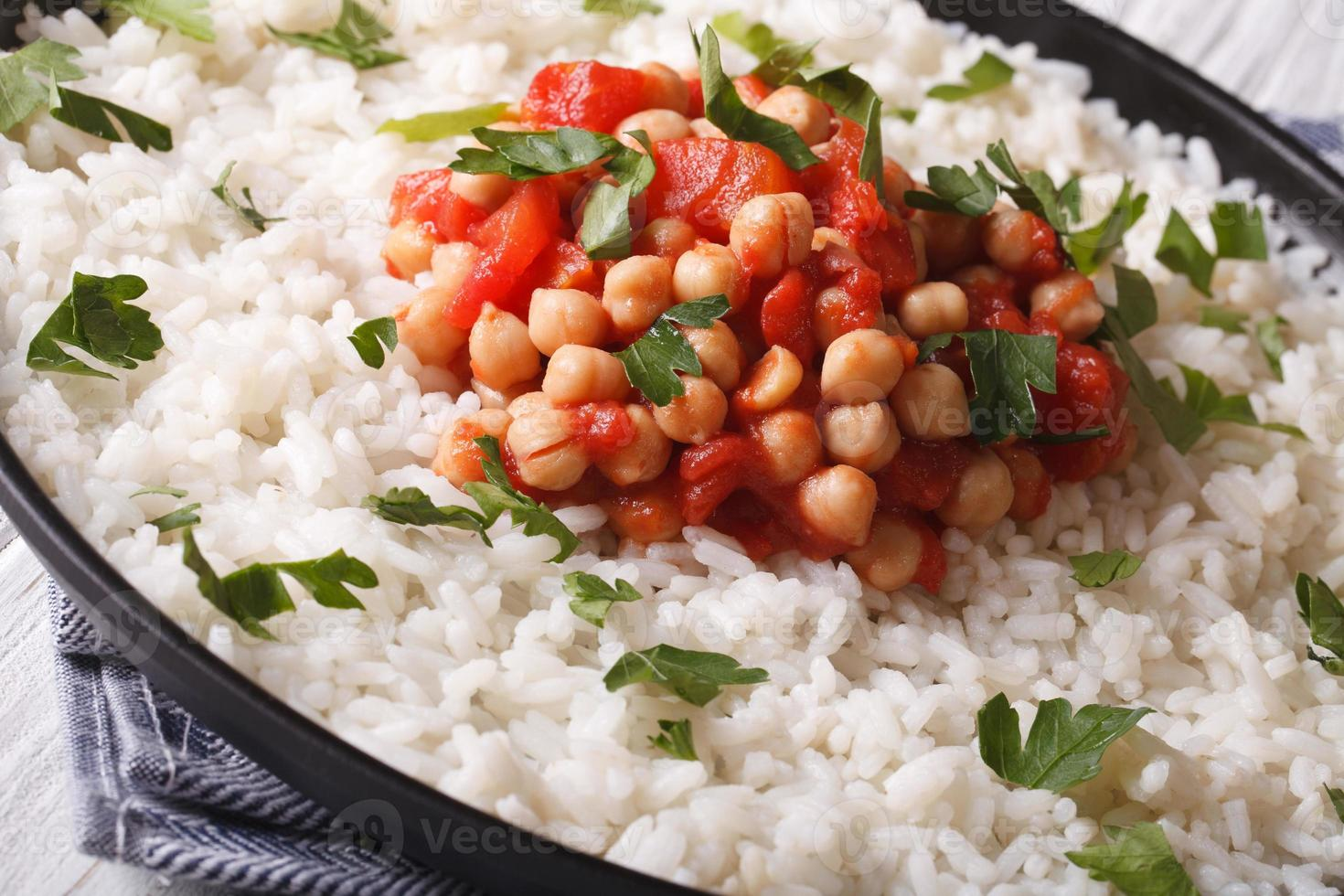 Rice with chickpeas and herbs close up horizontal photo