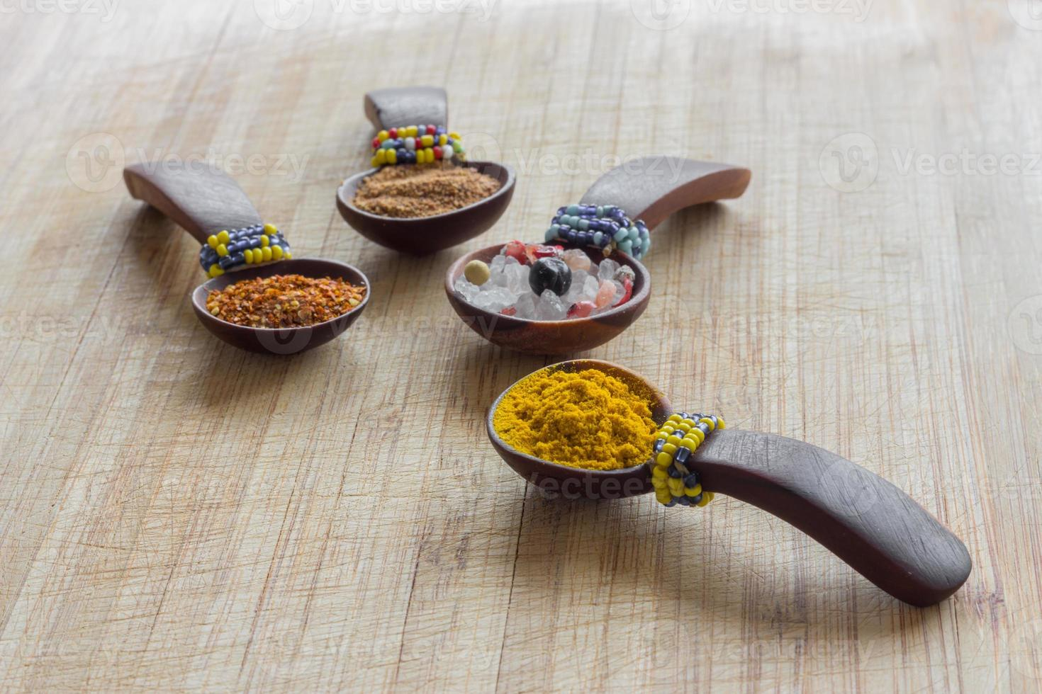Various spices, arranged photo