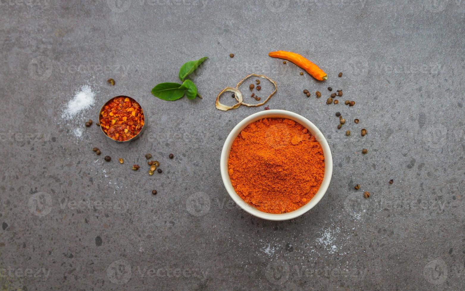 Spices mix selection background. photo