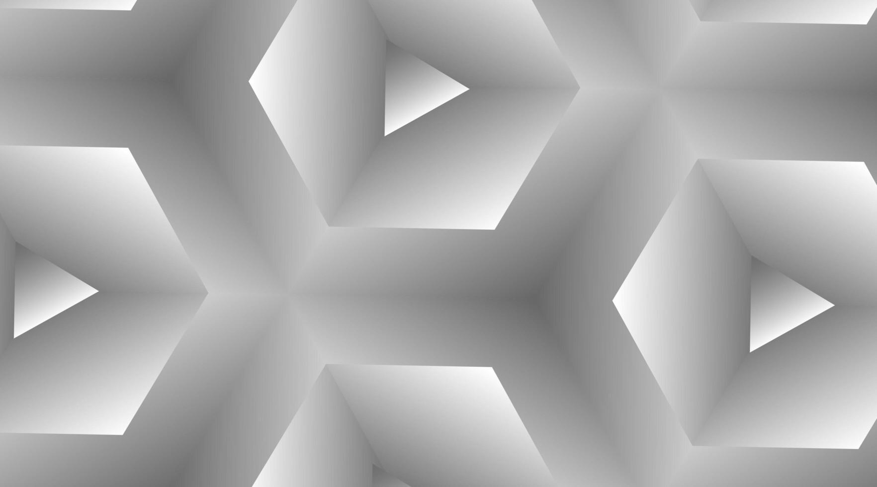 Fondo blanco abstracto con triángulos 3d y hexágonos vector