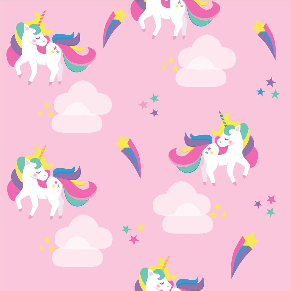 Seamless pattern with unicorns. vector