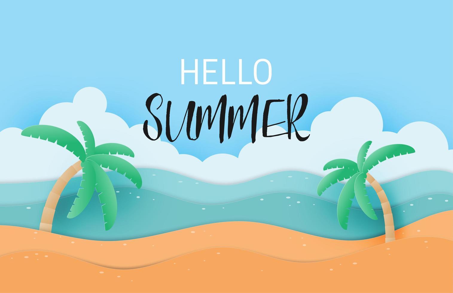 ciao estate con sabbia paesaggio vettore