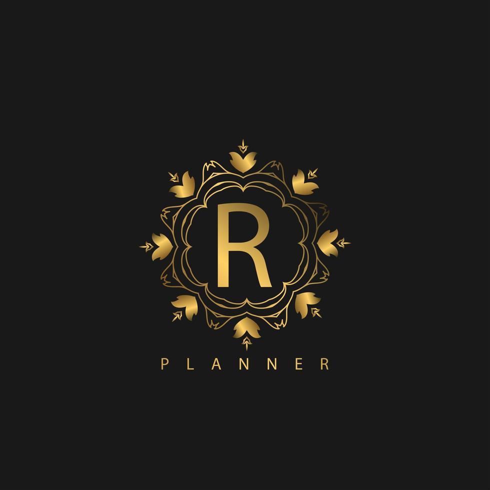 logo de luxe avec couleur dorée vecteur
