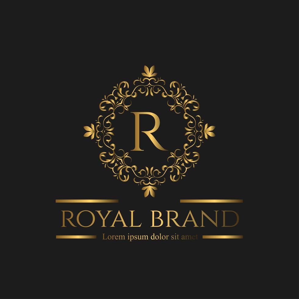 logo di lusso rotondo oro vettore