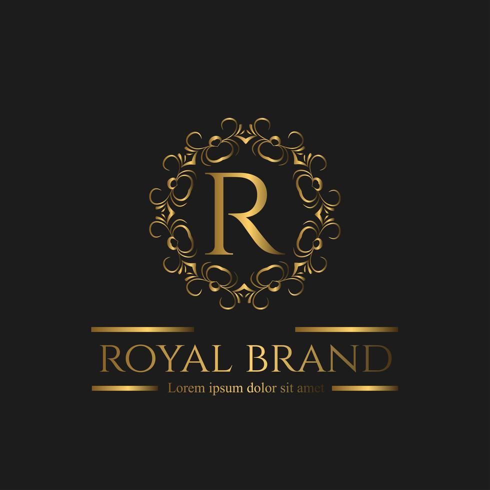 création de logo doré premium vecteur