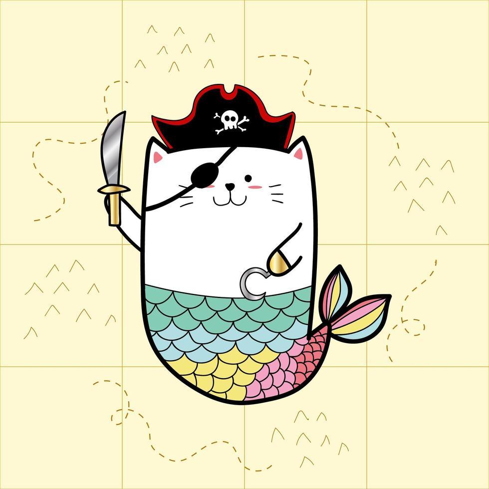 sirena di gatto pirata vettore