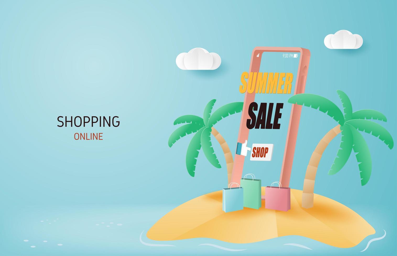 banner dello shopping online di saldi estivi vettore