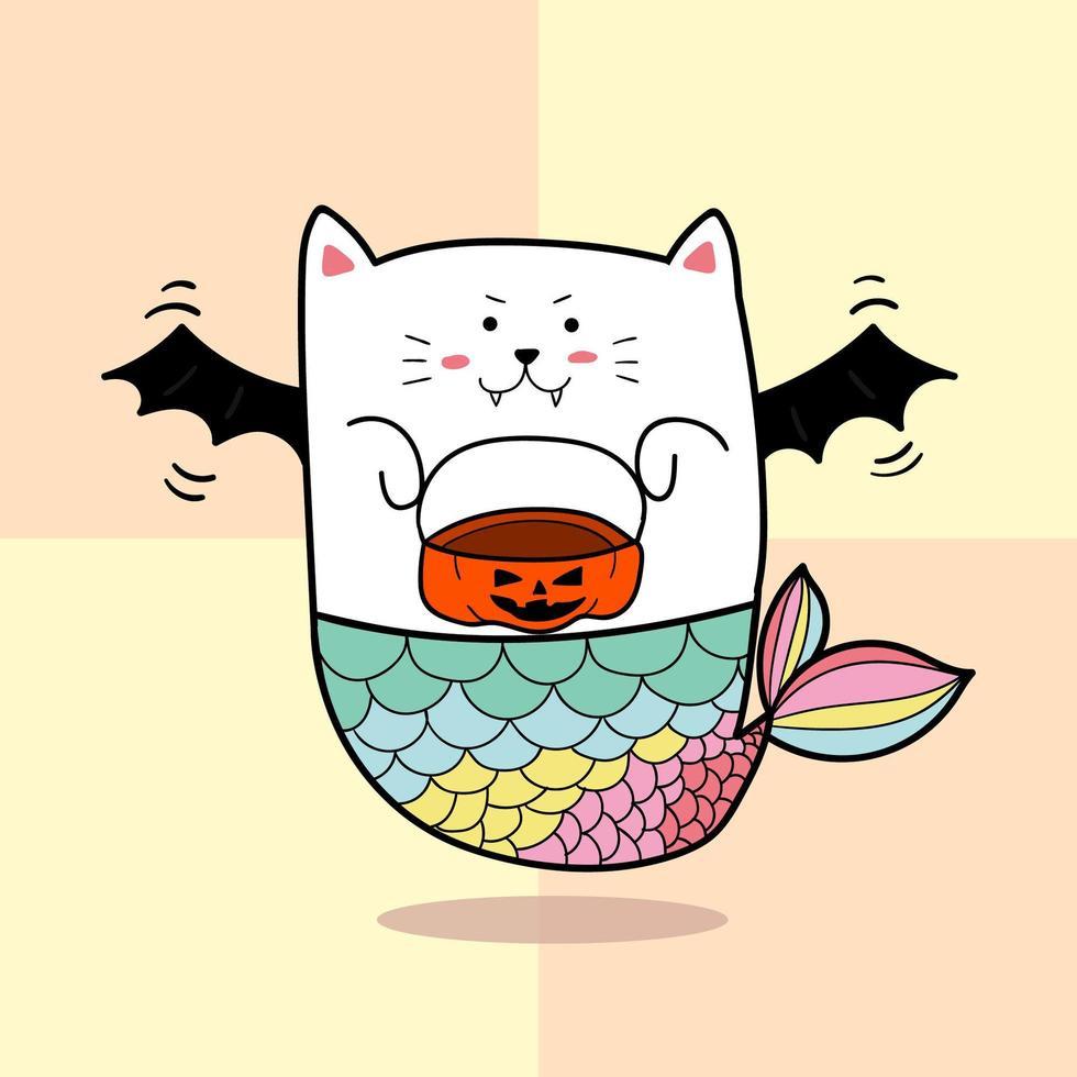 sirène de chat pour halloween vecteur