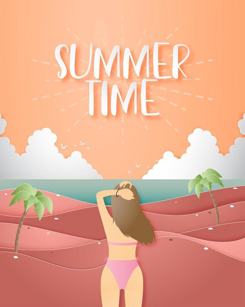 affiche de l'heure d'été avec une fille en bikini vecteur