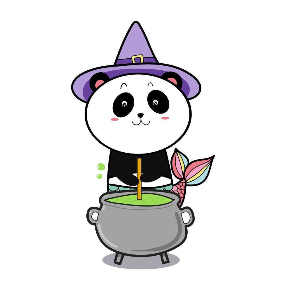 panda sereia bruxa vetor