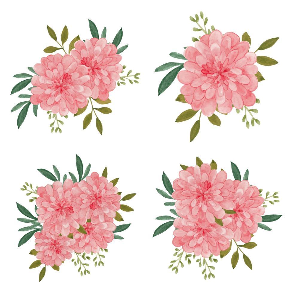 Collection de bouquet de fleurs de dahlia aquarelle vecteur