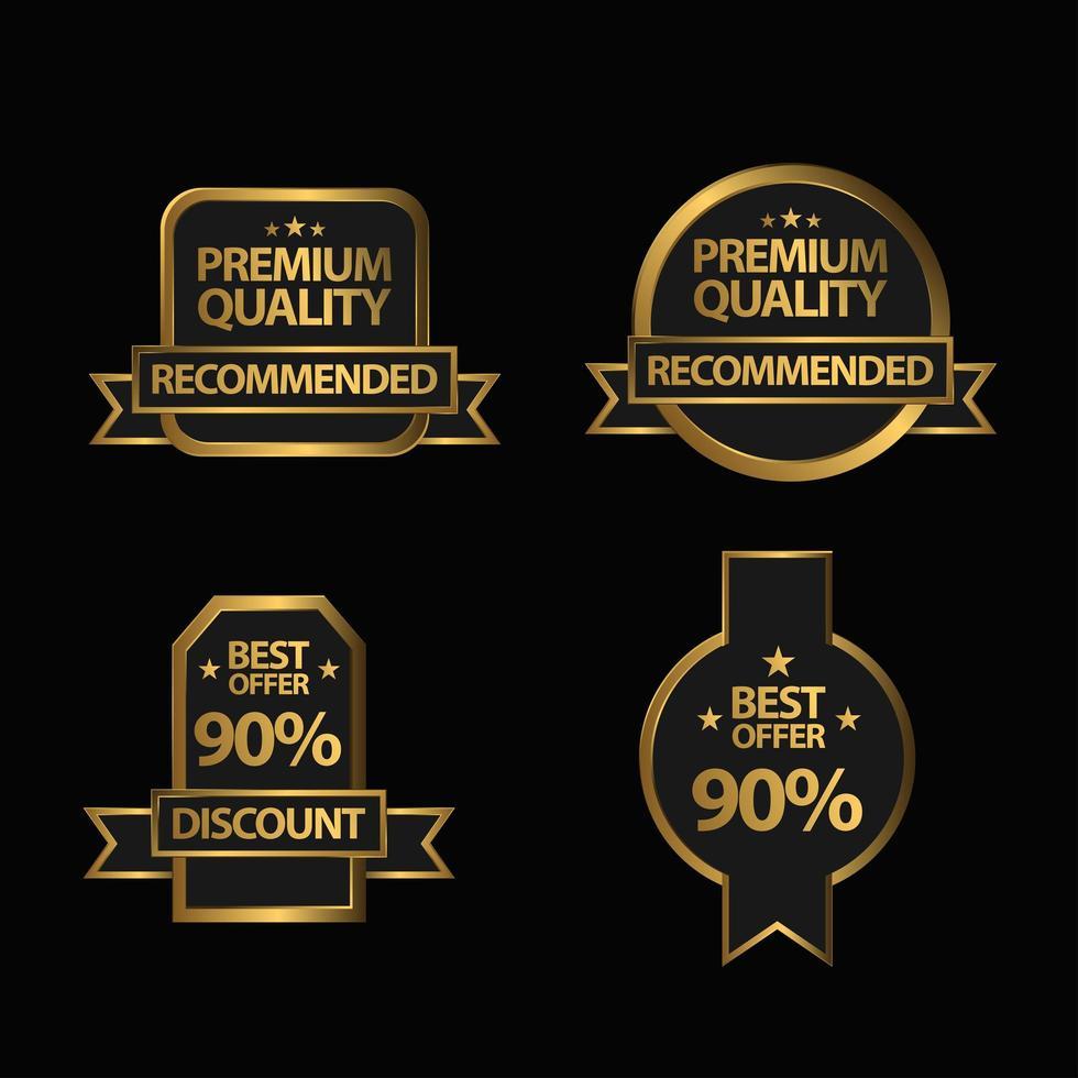 set di badge di qualità premium d'oro vettore