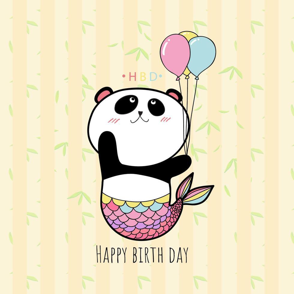 palloncino con panda, colore pastello hbd card. vettore