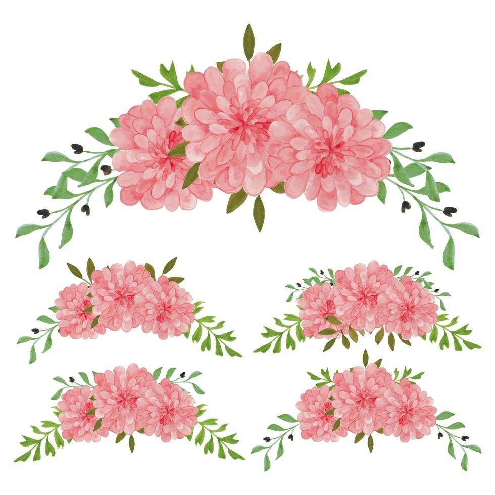 ensemble aquarelle arrangement floral rose vintage vecteur