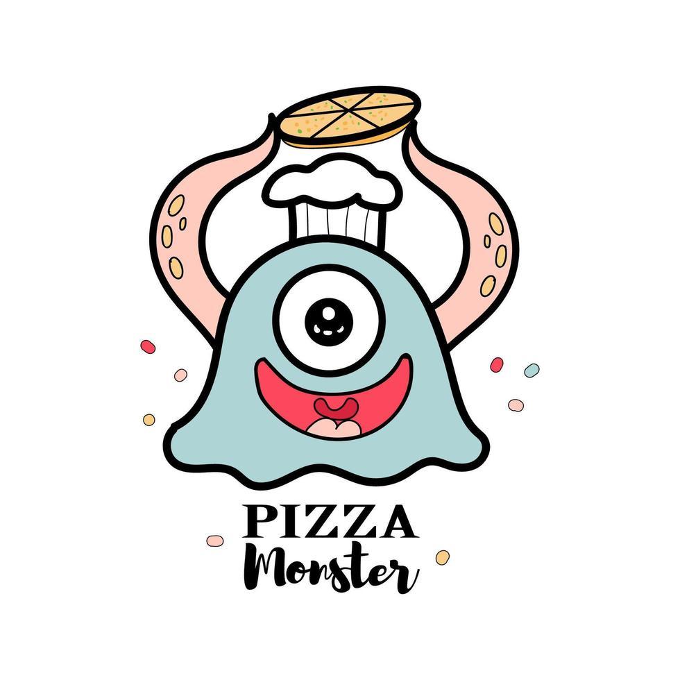 pizza monstre pour magasin d'alimentation vecteur