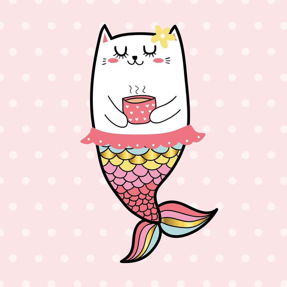 sirena dolce ragazza di colore pastello vettore