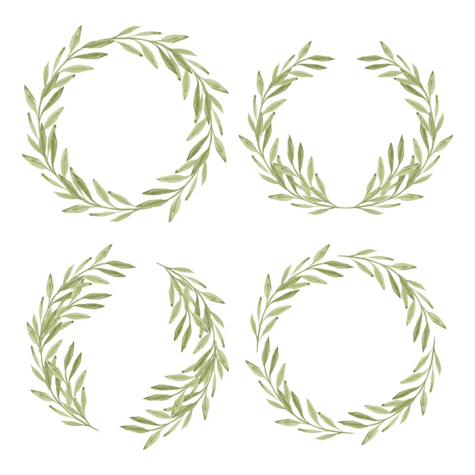 collection de cadres de couronne de feuilles vertes aquarelle vecteur