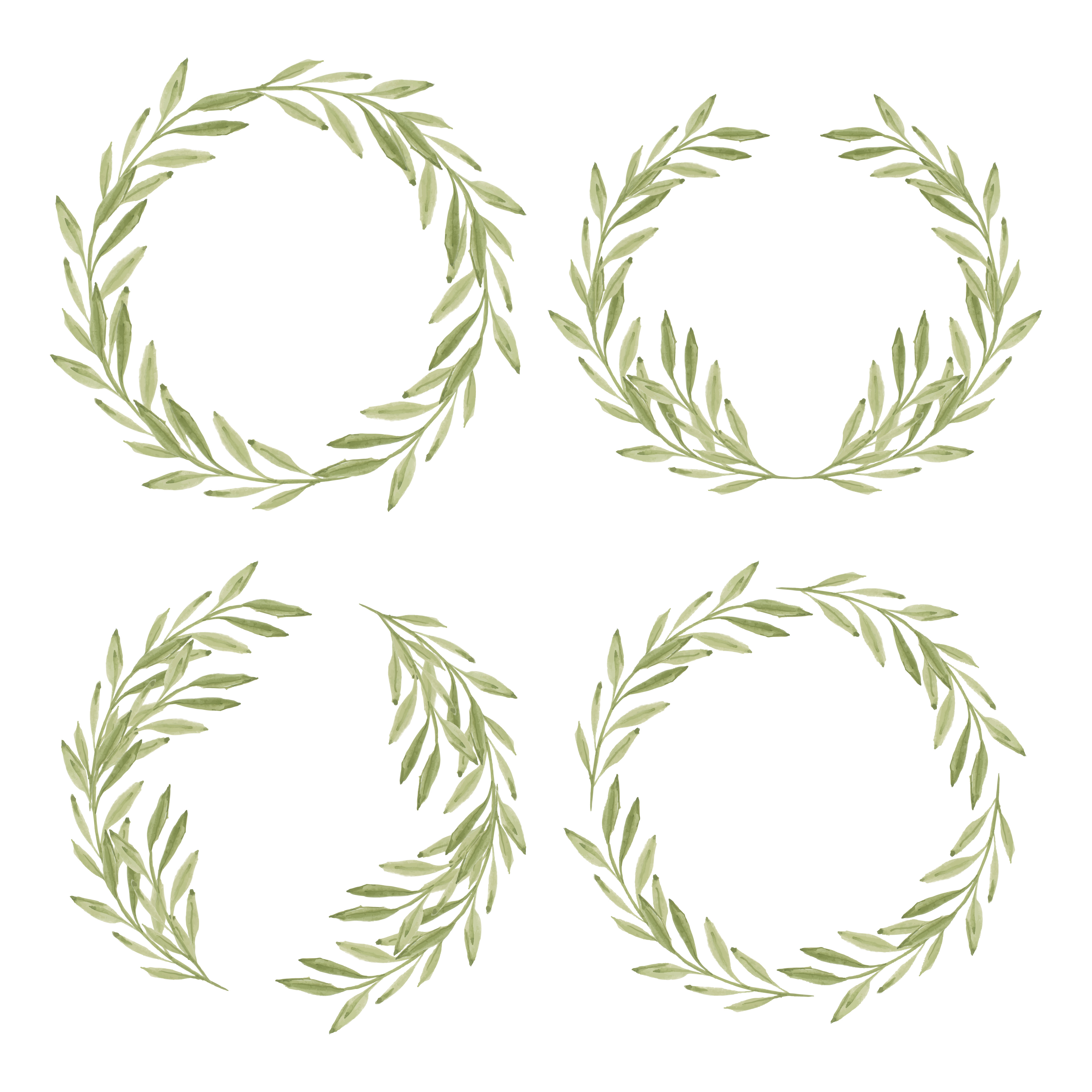 Floral And Botanical Logos Collection: Watercolor Green Leaf Wreath Frame Collection