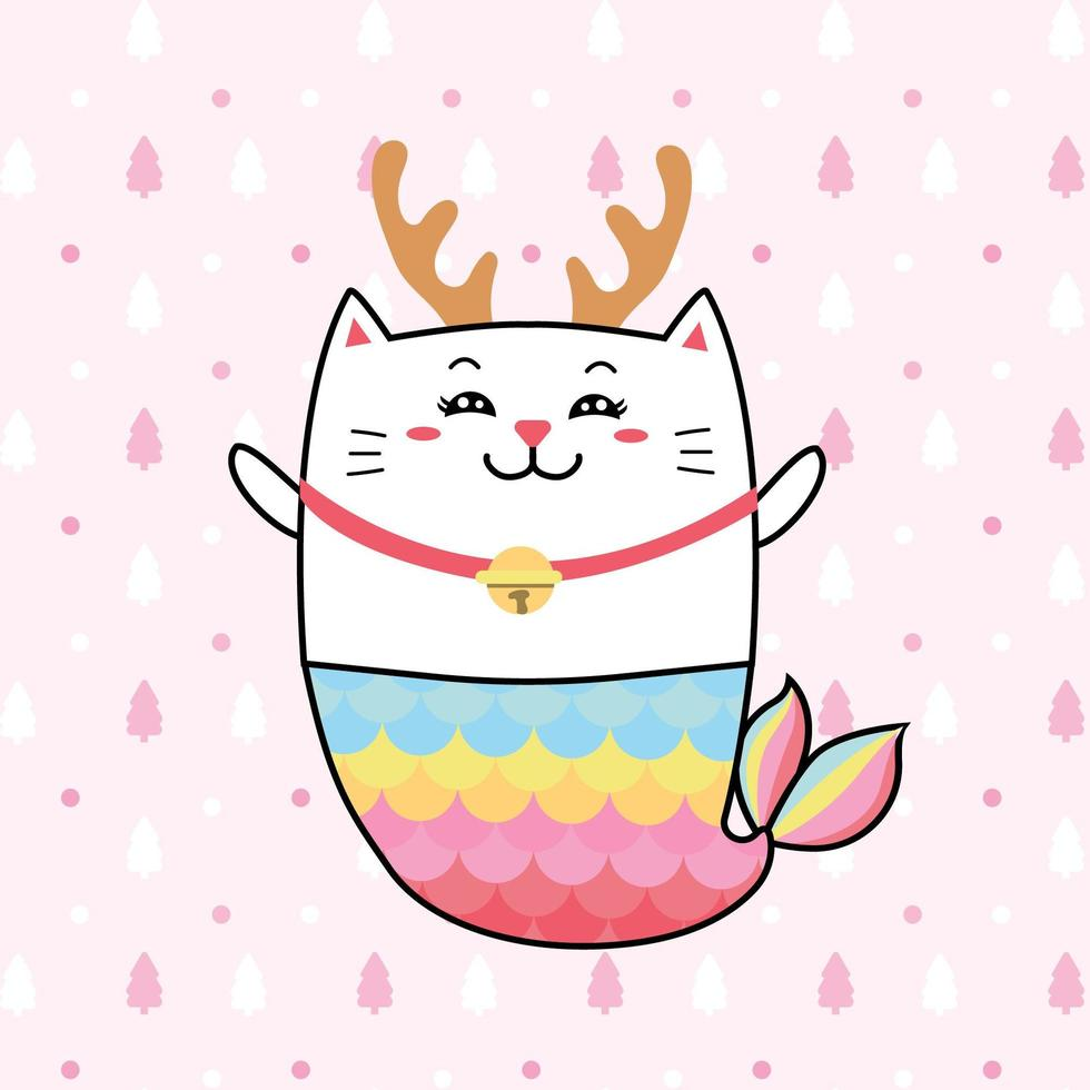 simpatica sirena di gatto con colori pastello per natale. vettore