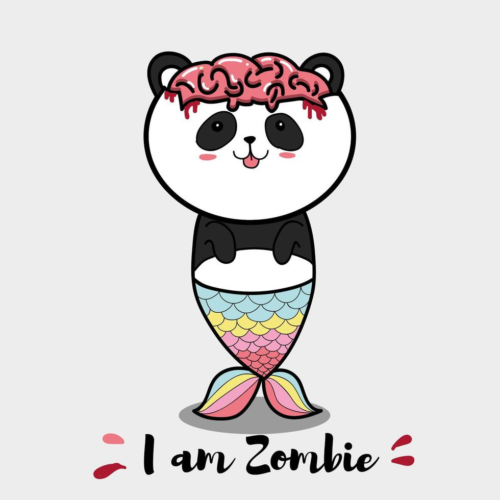 cartone animato di zombie panda vettore