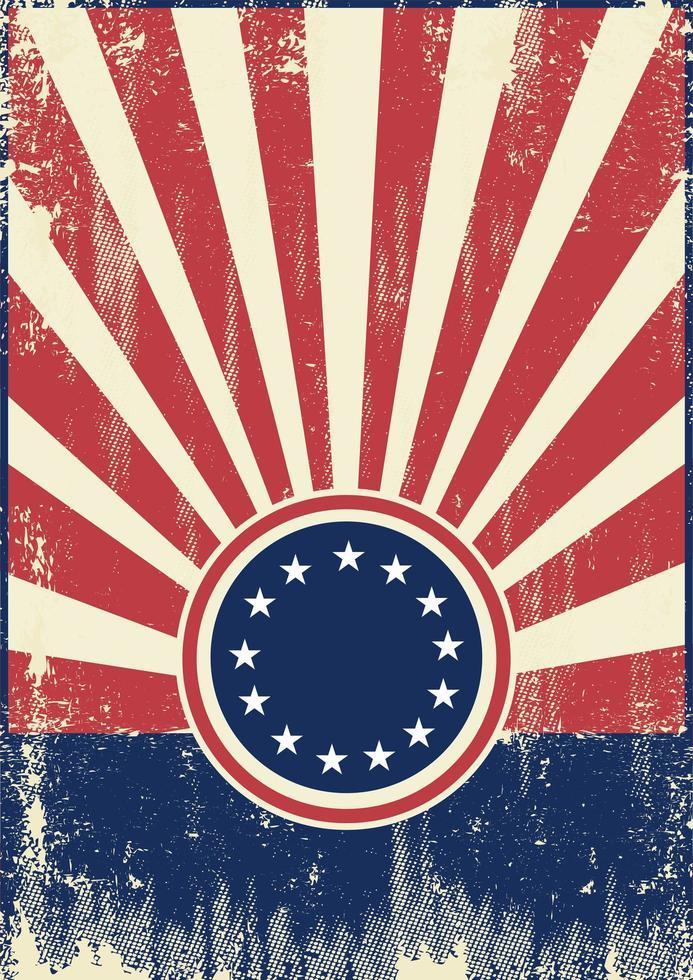 Fondo de rayos de sol retro bandera americana vector