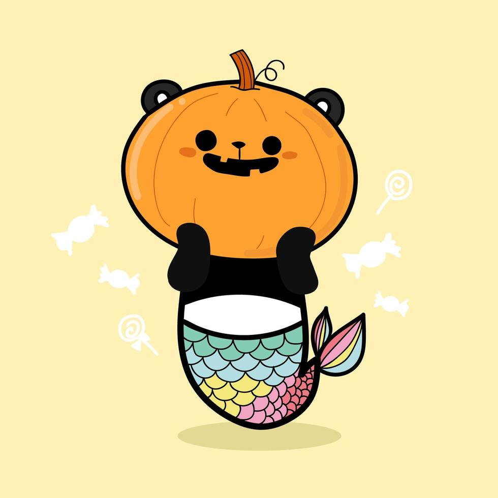 citrouille panda pour halloween vecteur