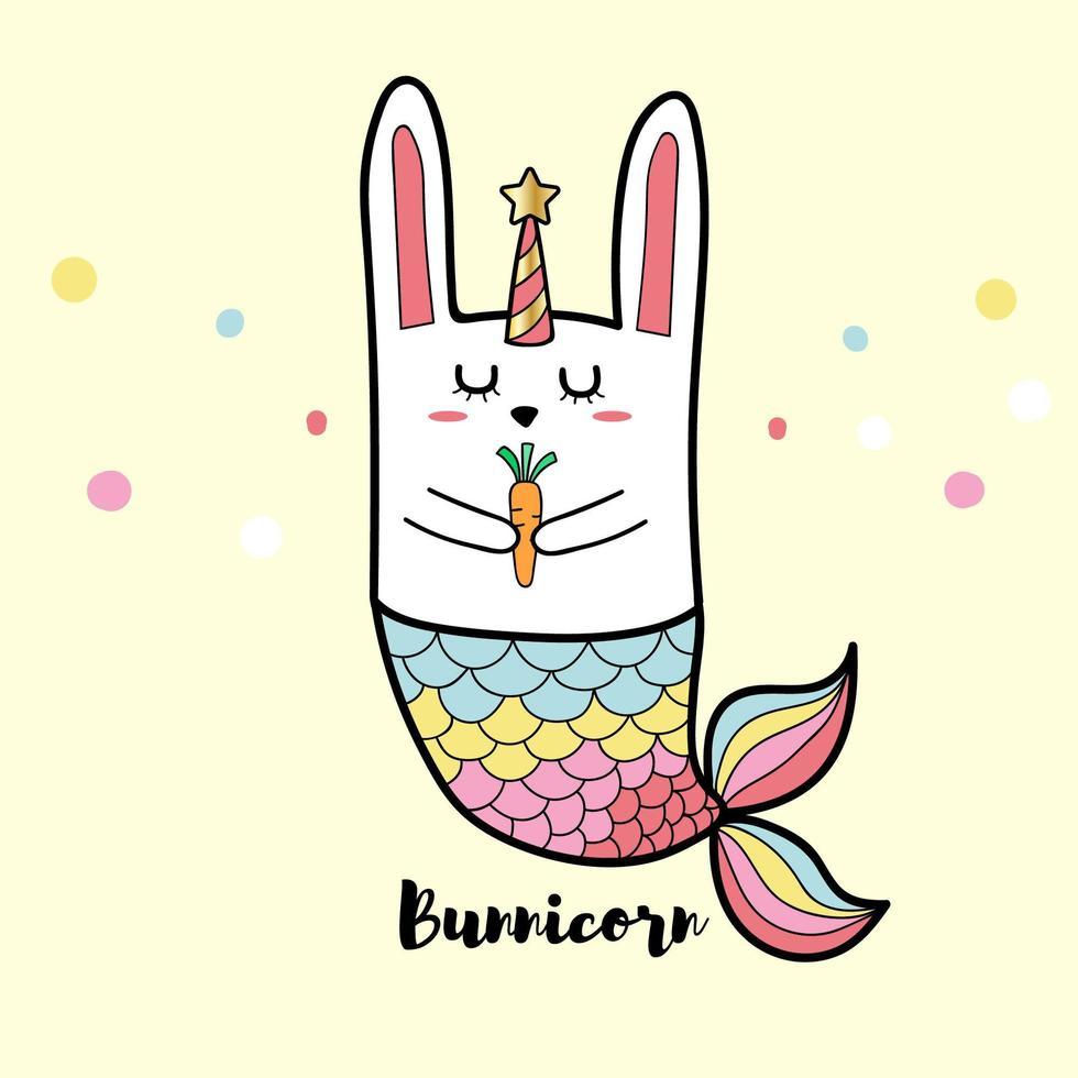 sirena di coniglio bunnicorn vettore