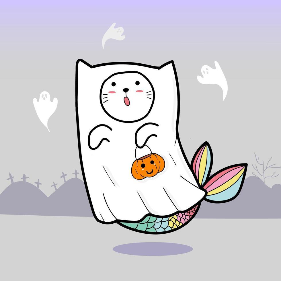 gatto fantasma per halloween vettore