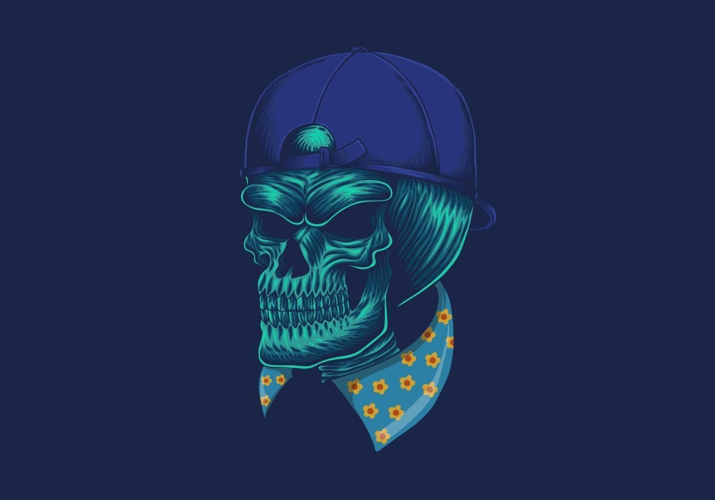 tête de mort néon vecteur