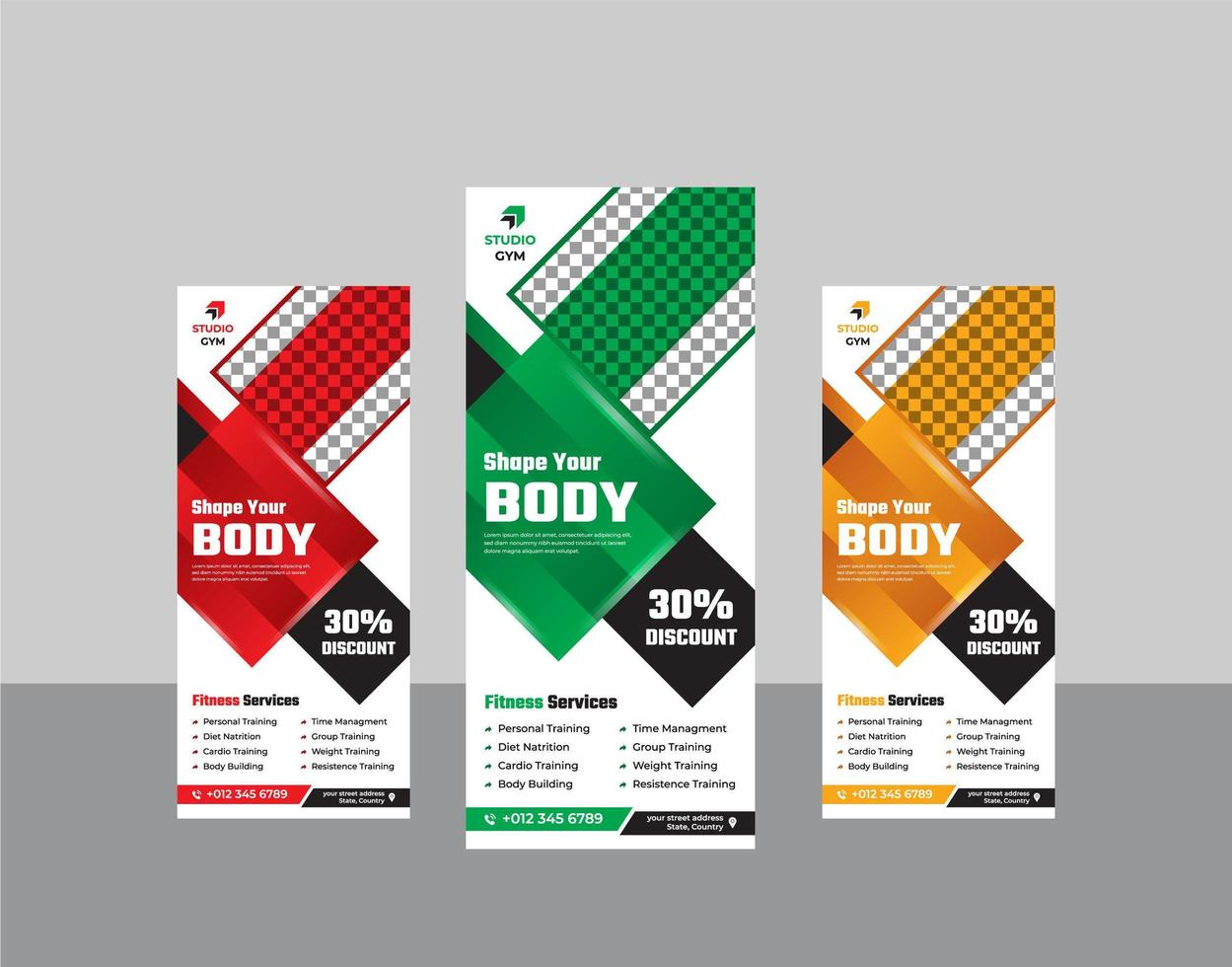 palestra fitness roll up stand banner modello moderno vettore
