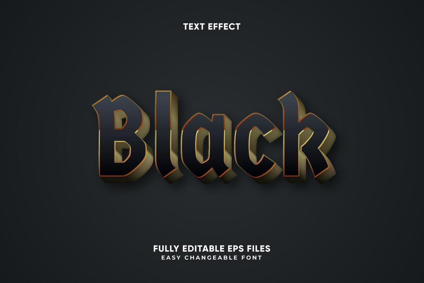 efecto de texto negro editable vector