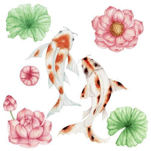 pesce koi dell'acquerello e fiore di loto rosa vettore
