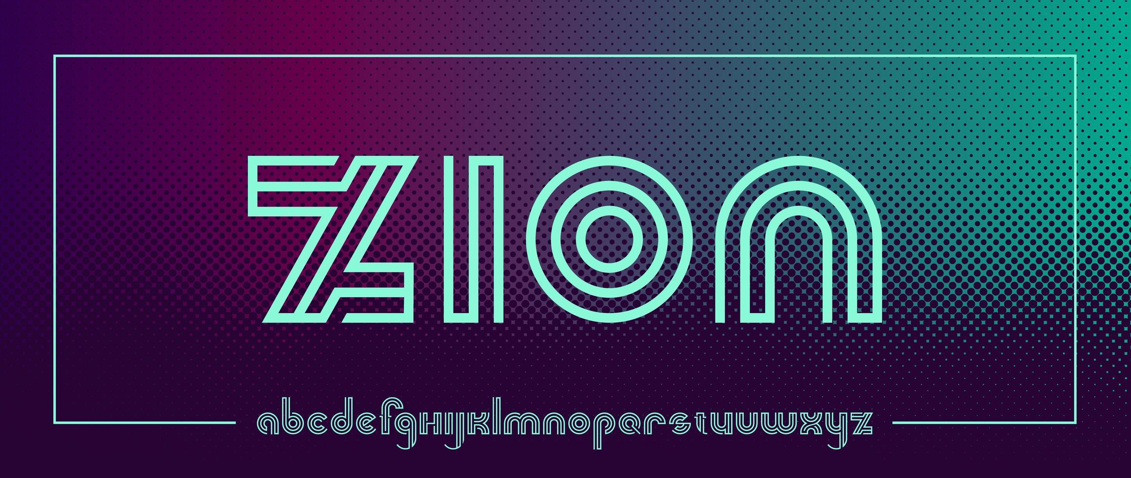 carattere futuristico in stile neon vettore