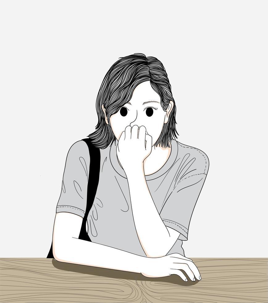 femme assise dans un café vecteur